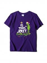 Cartoon Letter Print Short Sleeve T-shirts For Women