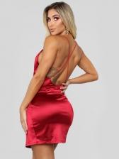 Sexy Backless V Neck Red Sleeveless Mini Dress