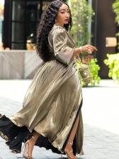 V Neck High Waist Split Hem Plus Size Maxi Dress
