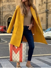 Long Sleeve Solid Woolen Long Coat
