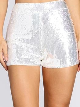 Short Sequined High Waist White Pants