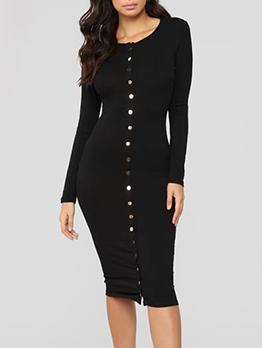 Single-Breasted Black Long Sleeve Bodycon Dress