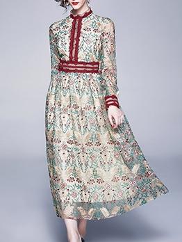 Vintage Botanic Print Lace Patchwork Maxi Dresses