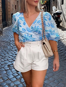 V Neck Flowers Printing Casual Puff Sleeve Blouse
