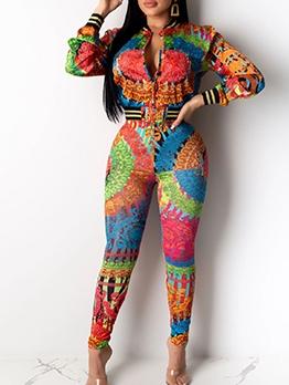 Retro Colorful Printing Skinny 2 Piece Pants Set
