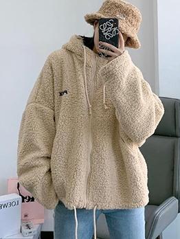Drawstring Solid Hooded Fleece Coat
