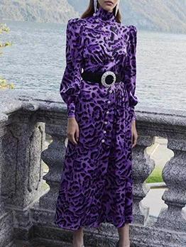 Boutique Stand Collar Leopard Maxi Dresses