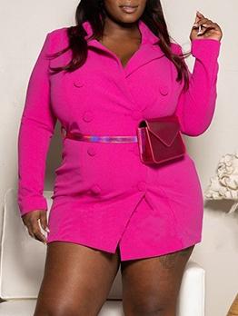 Bright Color Button Up Plus Size Ladies Blazer
