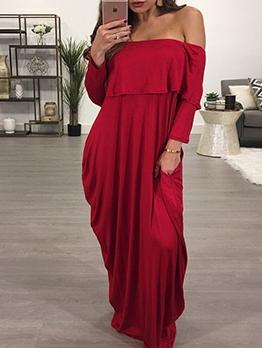 Casual Solid Off The Shoulder Maxi Dress
