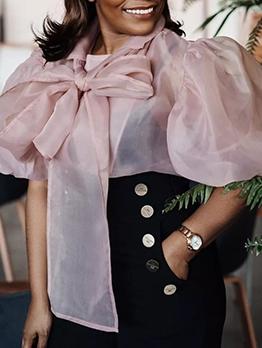 Plus Size Tying Bowknot Organza Pink Blouse