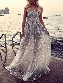 Fashion Sequin Strapless Large Hem Formal Dress