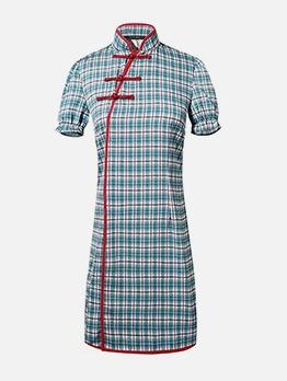 Vintage Stand Neck Plaid Short Sleeve Dress