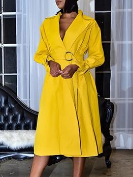 Solid Long Sleeve Large Hem Trench Coat