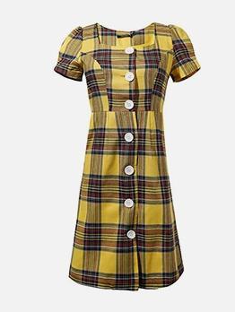 Vintage Style Puff Sleeve Plaid Short Dress