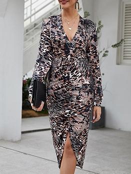 Hot Sale V Neck Leopard Print Midi Dress