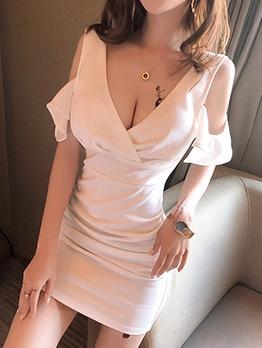 Cold Shoulder Low-Cut Solid Mini Dress For Club