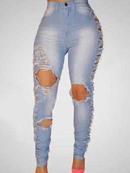Light Blue Knee Hole Fashionable Skinny Jeans