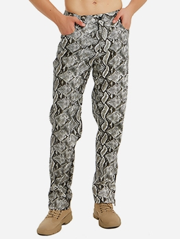 Leisure Snake Skin Printed Mens Pants