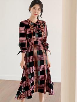Fashion Smart Waist Tie Neck Plaid Midi Dress