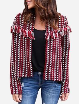 Jacquard Tassel Decor Long Sleeve Ladies Coat