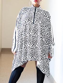 High Neck Leopard Print Loose Short Dresses