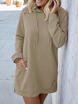 Solid Holes Long Sleeve Hoodie Dress