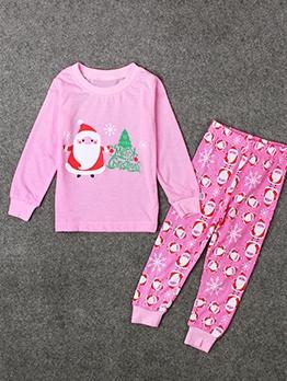 Cartoon Santa Claus Print Pink Girls Clothing Sets
