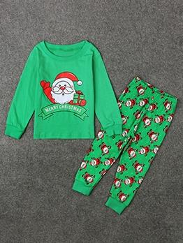 Christmas Santa Claus Print Green Boys Clothing Set