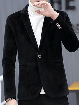 Business Solid Long Sleeve Woolen Coat