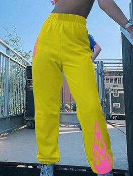 Casual Flame Print High Waist Sweatpants