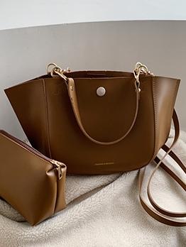 Practical Solid Color Pu 2 Piece Shoulder Bags