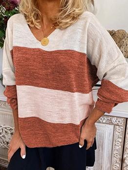 Contrast Color Striped V Neck T-shirt
