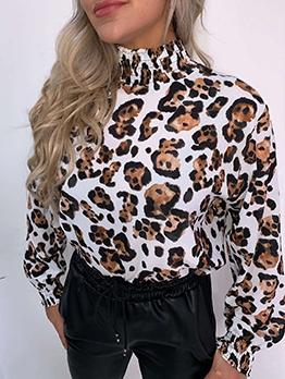 High Neck Leopard Print Chiffon Blouse