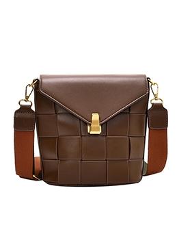 Pure Color Weave Wide Belt Bucket Shoulder Bags