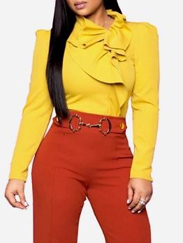 Fashion Solid Ruffled Long Sleeve T-shirts For Women