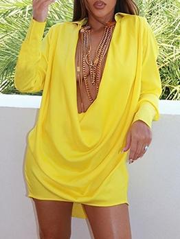 Deep V Solid Long Sleeve Short Dress