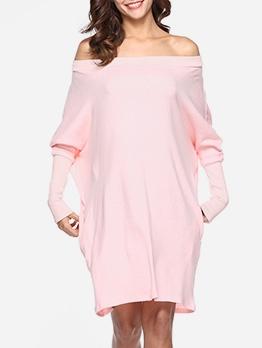 Knit Solid Long Sleeve Off The Shoulder Dress