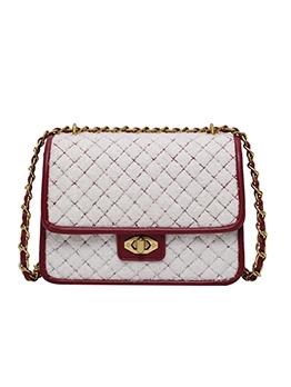 Rhombus Plush Patchwork Pu Chain Shoulder Bag