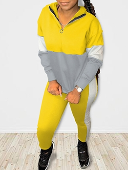 Sporty Contrast Color Hooded Collar Two Piece Sets