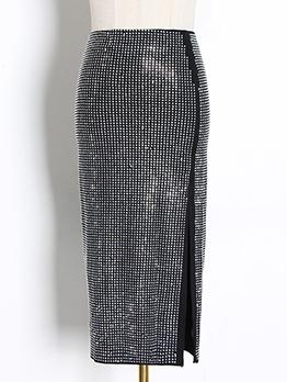 Solid Rhinestone Side Split Midi Skirt