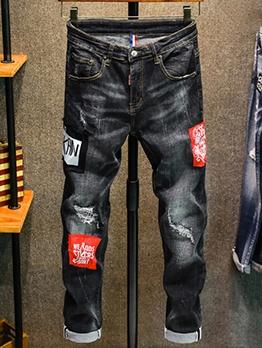Versatile Appliques Patchwork Denim Jeans