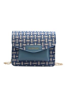 Woolen Patchwork Pu Gold Chain Shoulder Bag