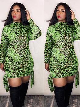 Tie Wrap Hem Leopard Flower Printed Long Sleeve Dress