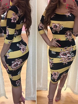 Striped Flower Printed Long Sleeve Bodycon Dress