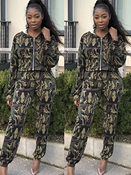 Camouflage Hooded Womens Two Piece Sets