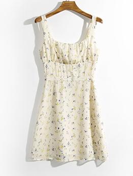 Summer U Neck Floral Sleeveless Dress