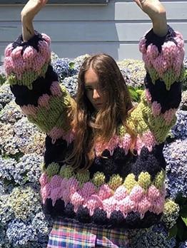 Contrast Color Loose Boutique Crew Neck Sweater