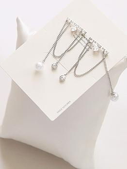 Tassel Faux-Pearl Decor Rhinestone Stud Earrings