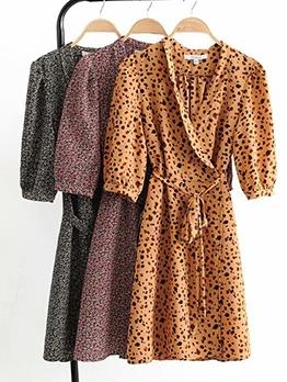 Short Sleeve V Neck Floral Wrap Dress For Women
