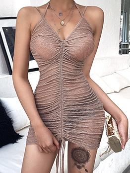 Sexy Draped Glitter See Though Sleeveless Mini Dress